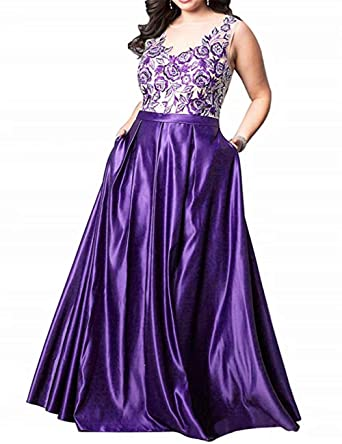BRLMALL Plus Size Long Bridesmaid Dress Purple 4X Formal ...