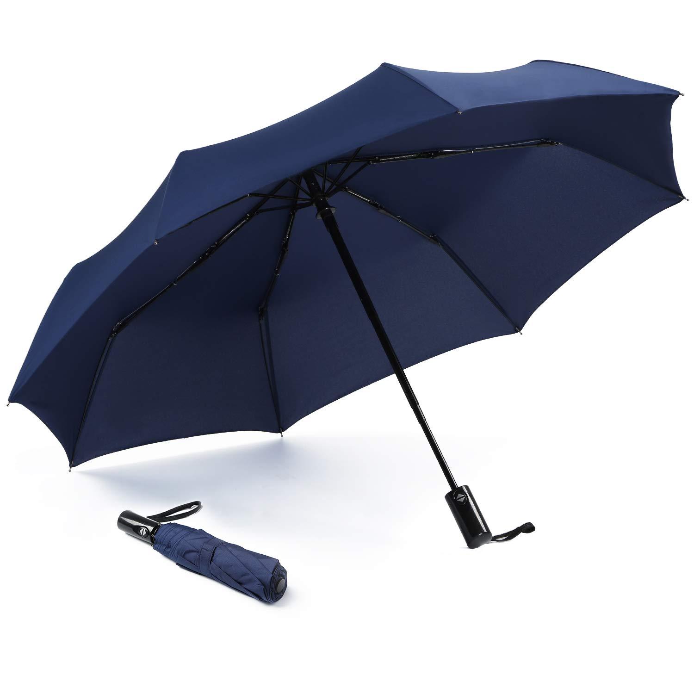 コンパクトトラベル傘 防風 自動開閉 ポータブル 旅行用  ネイビーブルー B07Q6W8964