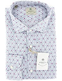 New Borrelli White Fancy Extra Slim Shirt