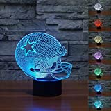 Erhard 3D Night Light Table Desk LED Lamps 7 Colors Change Decor Atmosphere Illusion Lamp with USB Cable Smart Touch Button Control (Football Helmet)