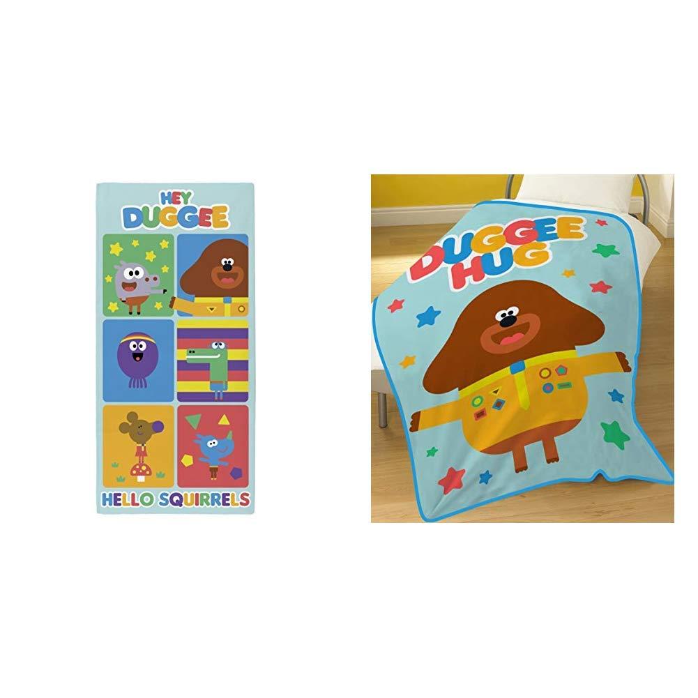 100x150cm Multi-Colour Hey Duggee  Hello Squirrels Towel 70 x 0.5 x 140 cm /& DUGGEE Blanket Polyester Cotton Multi-Colour