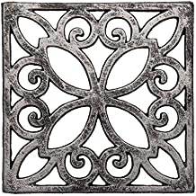 Comfify Decorative Cast Iron Trivet For Kitchen Or Dining Table | Square with Vintage Pattern - 6.5 x 6.5 | With Rubber Pegs/Feet - Recycled Metal | Vintage, Rustic Design | by