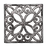 Decorative Cast Iron Trivet For Kitchen Or Dining Table | Square with Vintage Pattern - 6.5 x 6.5 | With Rubber Pegs/Feet - Recycled Metal | Vintage, Rustic Design | by Comfify Larger Image