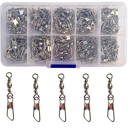 Luengo 100pcs/lot Stainless Steel Snaps Swivel Fishing Connector Rolling Swivel Interlock Snap Lure Barrel Snap Swivel Accessories Fishing Tackle Box Kit +A