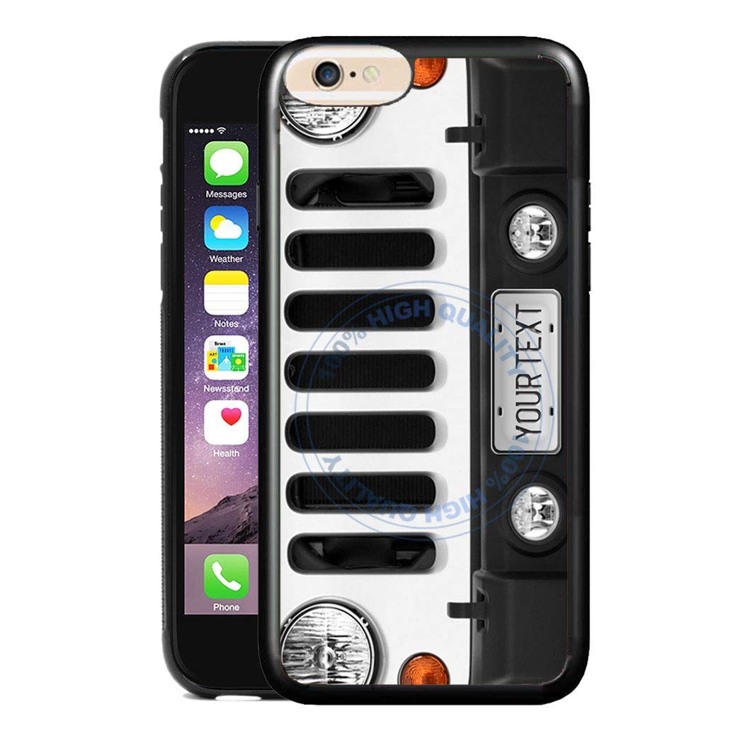 BRGiftShop Personalize Your Own SUV Bumper Car Grill White License Plate Rubber Phone Case For Apple iPhone 8 Plus & 7 Plus