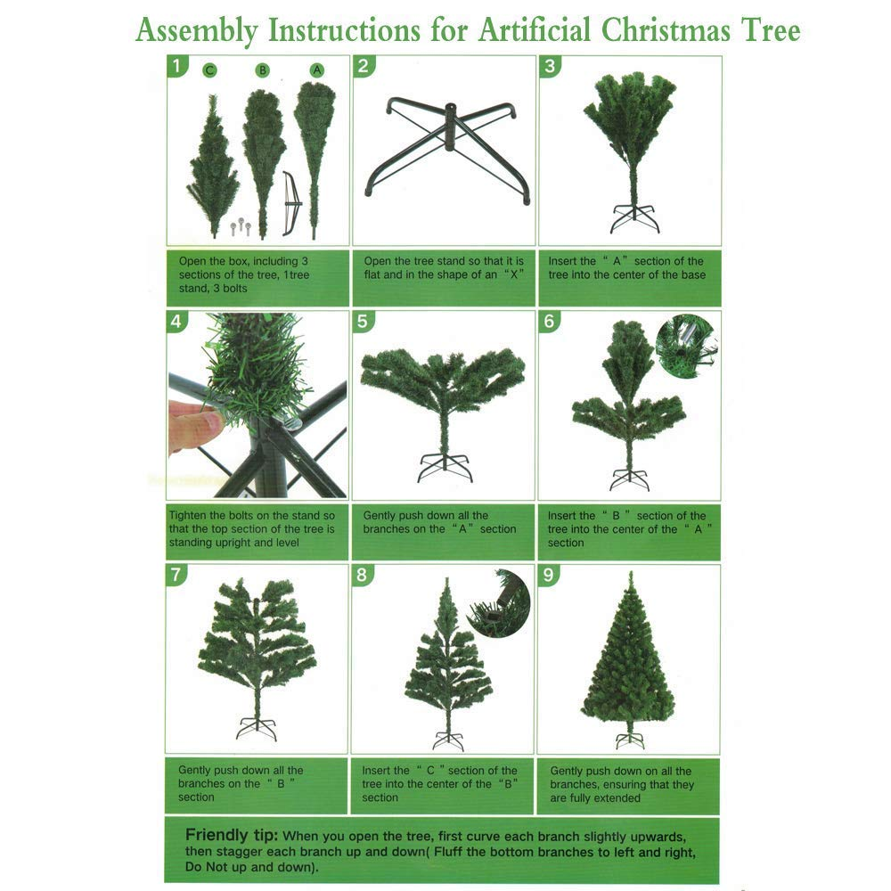 Artificial Christmas Tree Assembly Instructions.Amazon Com Mingna 6ft Christmas Tree Eco Friendly 700 Tips