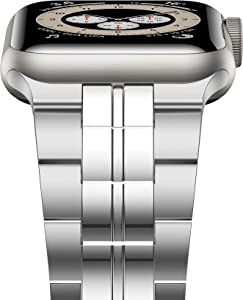 iiteeology Compatible with Apple Watch Band 44mm 42mm, Titanium Steel Metal Strap for Men with Double Button Clasp for iWatch SE Series 6 5 4 3 2 1, Silver, 42mm/44mm