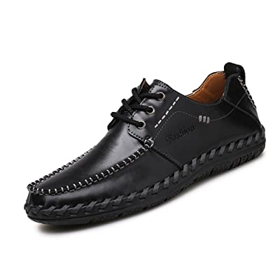 XDX Taste Of Life Men's Soft Leather Loafers Slip On Sewing Driving Shoes