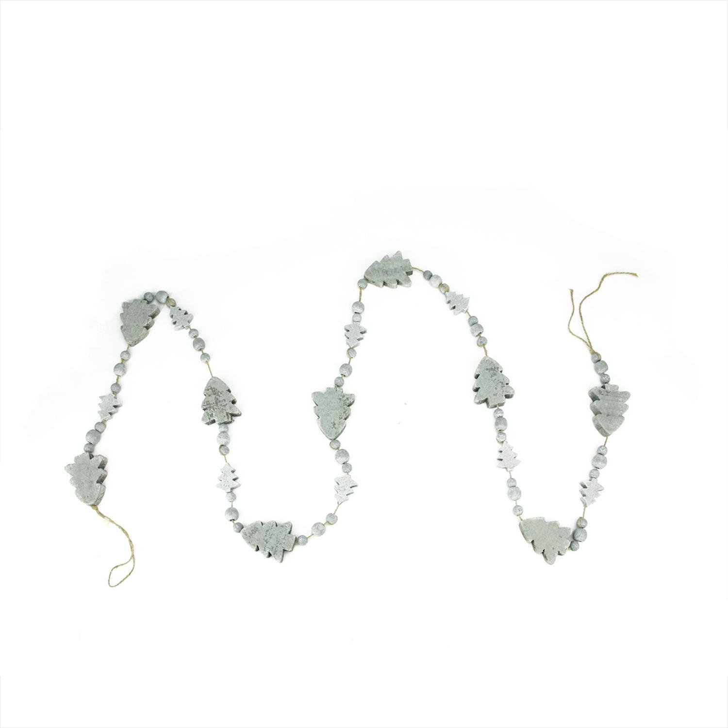6' Alpine Chic Gray Distressed Wood Bead and Christmas Tree Holiday Garland - Unlit