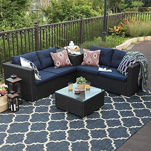 4 Piece Patio Sectional Furniture Outdoor Sofa Set with Cushion Box Storage - Navy Blue