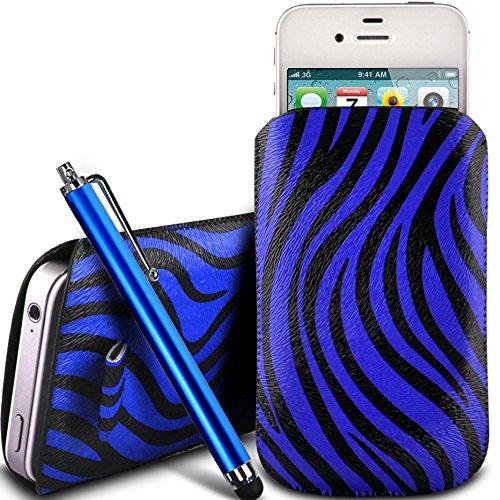 N4U Online - Apple iPhone 3G protection en cuir PU Zebra Conception Pull Tab cordon glisser Housse Etui Quick Release et grandes Stylet - bleu