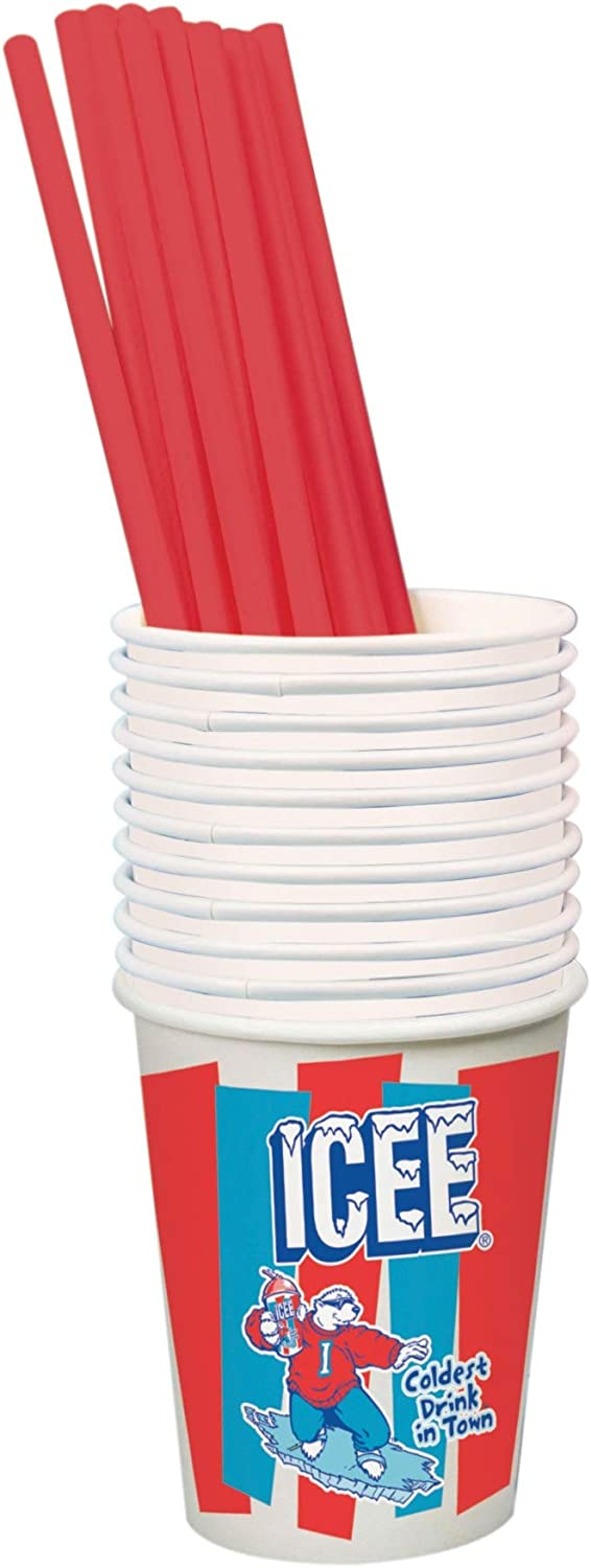 iscream Genuine ICEE Brand Paper Cups and Straws for ICEE At Home Slushie Maker