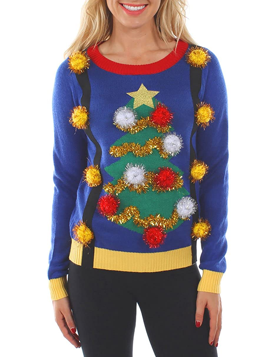 Tipsy Elves Women's Tacky Christmas Sweater-Christmas Tree Sweater with Suspenders