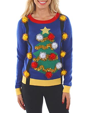 e96cd1ba36042 Tipsy Elves Women s Tacky Christmas Sweater - Christmas Tree Sweater with  Suspenders XS Blue