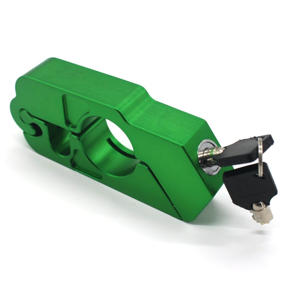Motorcycle Grip Lock Handlebar Throttle Security Lock Anti-Theft Scooters fit for ATV Motorcycles Dirt Street Bike (Green)