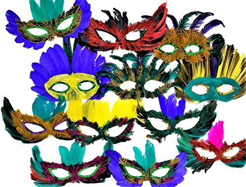 Masquarade Masks 12 Feather Mardi Gras Masks Costume Party Masquerade (12) -