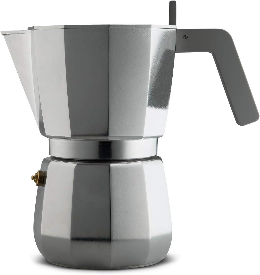 Alessi Moka Cafetera para café exprés de diseño en aluminio fundido mango y pomo en PA 9 tazas gris, Steel, acero inoxidable: Amazon.es: Hogar