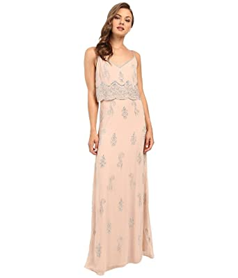 48c853ddac91 Adrianna Papell Women's Sleeveless Beaded Popover Gown English Rose Dress 12