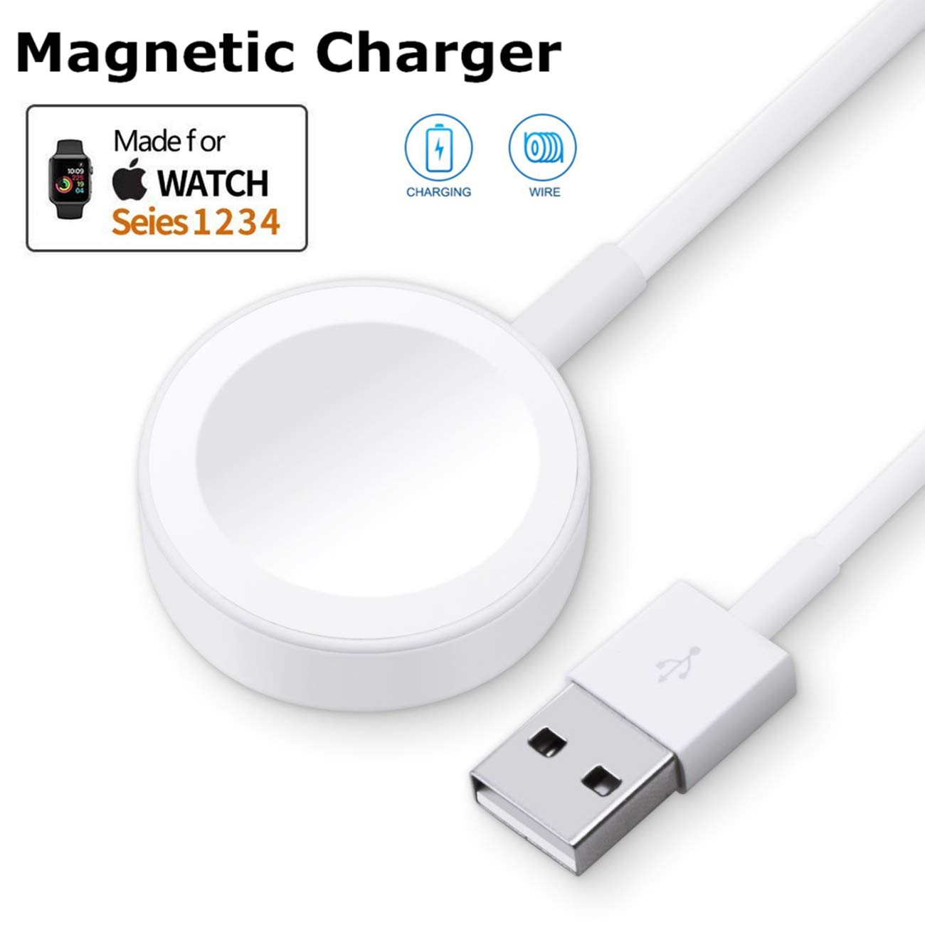 ATETION Watch Charger Pad and iWatch Magnetic USB Charging Cable for Series 1/2/3/4,Magnetic Charging Cable for Apple Watch ...