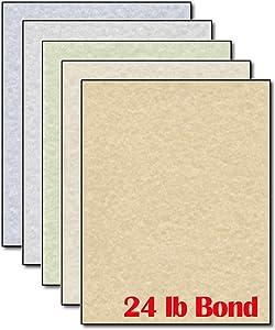 Parchment Stationery Paper Letterhead Color Assortment - 50 Sheets - 24lb Bond Printer Paper with Parchment Design
