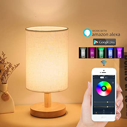 Alexa smart table lamp wifi dimmable multicolored color changing led light lamp for living room