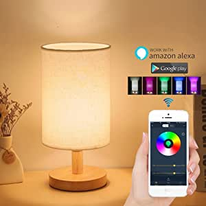Alexa Smart Table Lamp, Wifi Dimmable Multicolored Color Changing Led Light Lamp For Living Room, Bedroom, Party, Smartphone Compatible with Amazon Alexa (White Stlye)