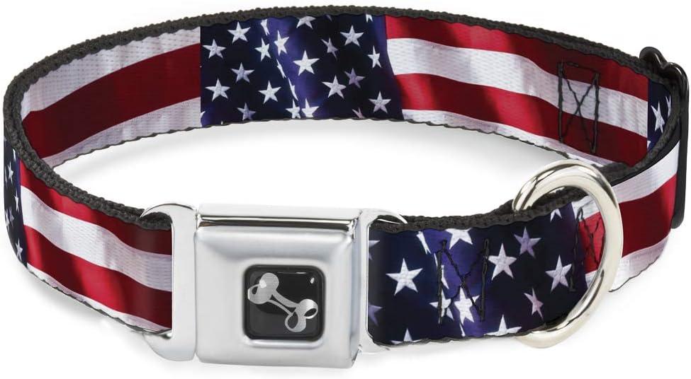 Buckle-Down Seatbelt Buckle Dog Collar - American Flag Vivid CLOSE-UP - 1