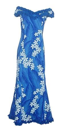 Jade Fashions Inc. Long Women Ruffle Dance Blue Plumeria Hawaiian Dress -Blue-Small