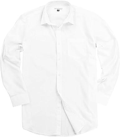 Urban Boundaries Mens Button Down Point Collar Black White Dress Shirts (White, 17.5-35/36)