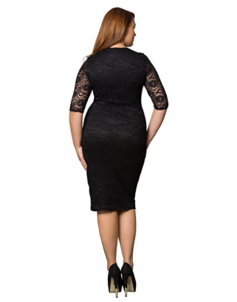 3ae15b76d99 Kiyonna Women s Plus Size Valentina Illusion Dress 4X Black Blush   Amazon.ca  Clothing   Accessories