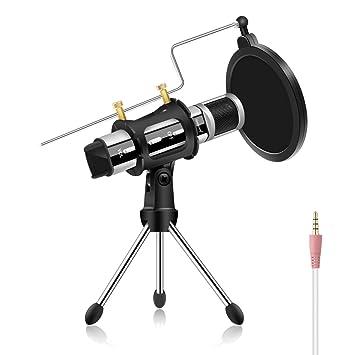 Amazon.com: Micrófono de estudio, micrófono de condensador ...