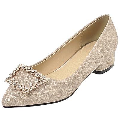 AIYOUMEI Escarpins Glitter Strass Brillant Pointu Chaussure Velours Femmes Talons Bloc Confortable Pour Journée Travaille