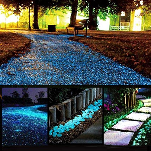 chic style Glow Stones, Glowing in the Dark Pebbles 150pcs for Walkways, Window, Yard Grass, Driveway, Outdoor Decor DIY Decorative Gravel Stones, Fish Tank Decoration (Blue) ()