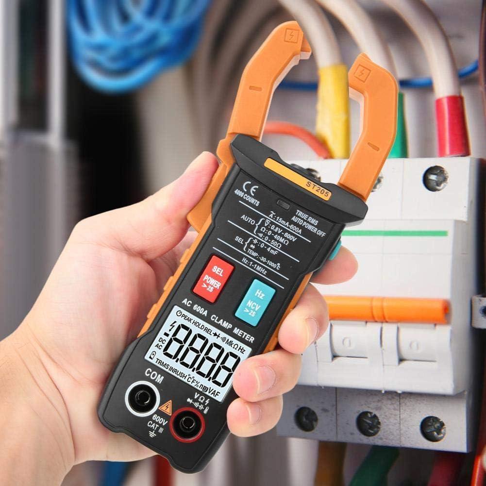BXU-BG Pinza multímetro digital, ST205 4000 cuentas completa inteligente rango de verdadero valor eficaz medidor digital for equipos eléctricos de prueba y mantenimiento automático (naranja)