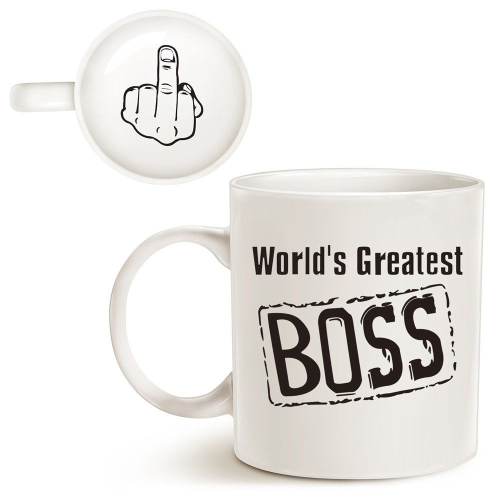 funny best boss coffee mug christmas gifts worlds greatest boss with middle finger on the bottom unique present idea porcelain cup best gag gifts idea