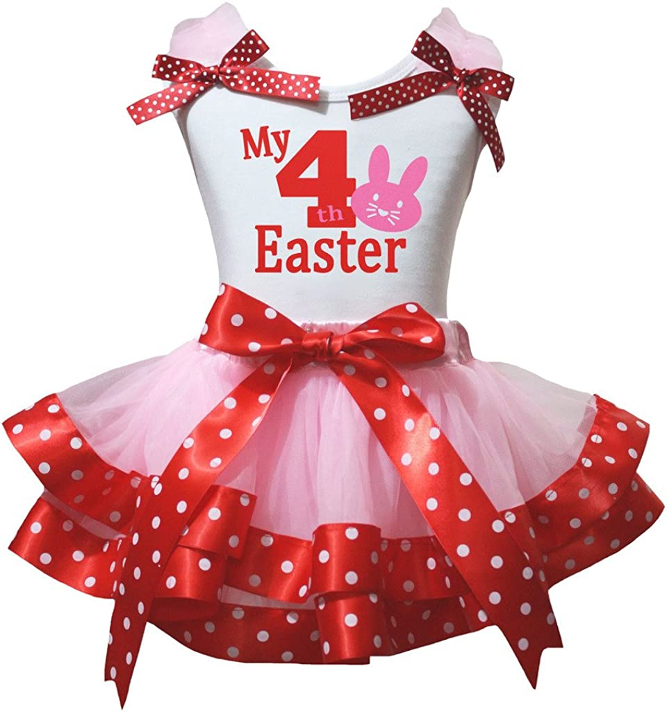 Petitebella My 4th Bunny Easter White Shirt Pink Red Dots Petal Skirt Nb-8y