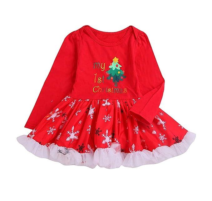 Xmiral Niñas Navidad Fiesta Vestido de Encaje para Bebe Disfraz Tutú Dress Estampado Navideño Manga Larga