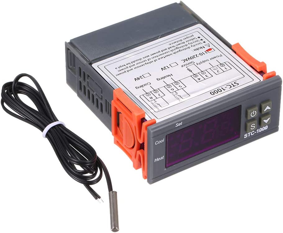 Decdeal Digital Temperature Controller Heating Cooling Centigrade Thermostat 2 Relays Output with Sensor STC-1000