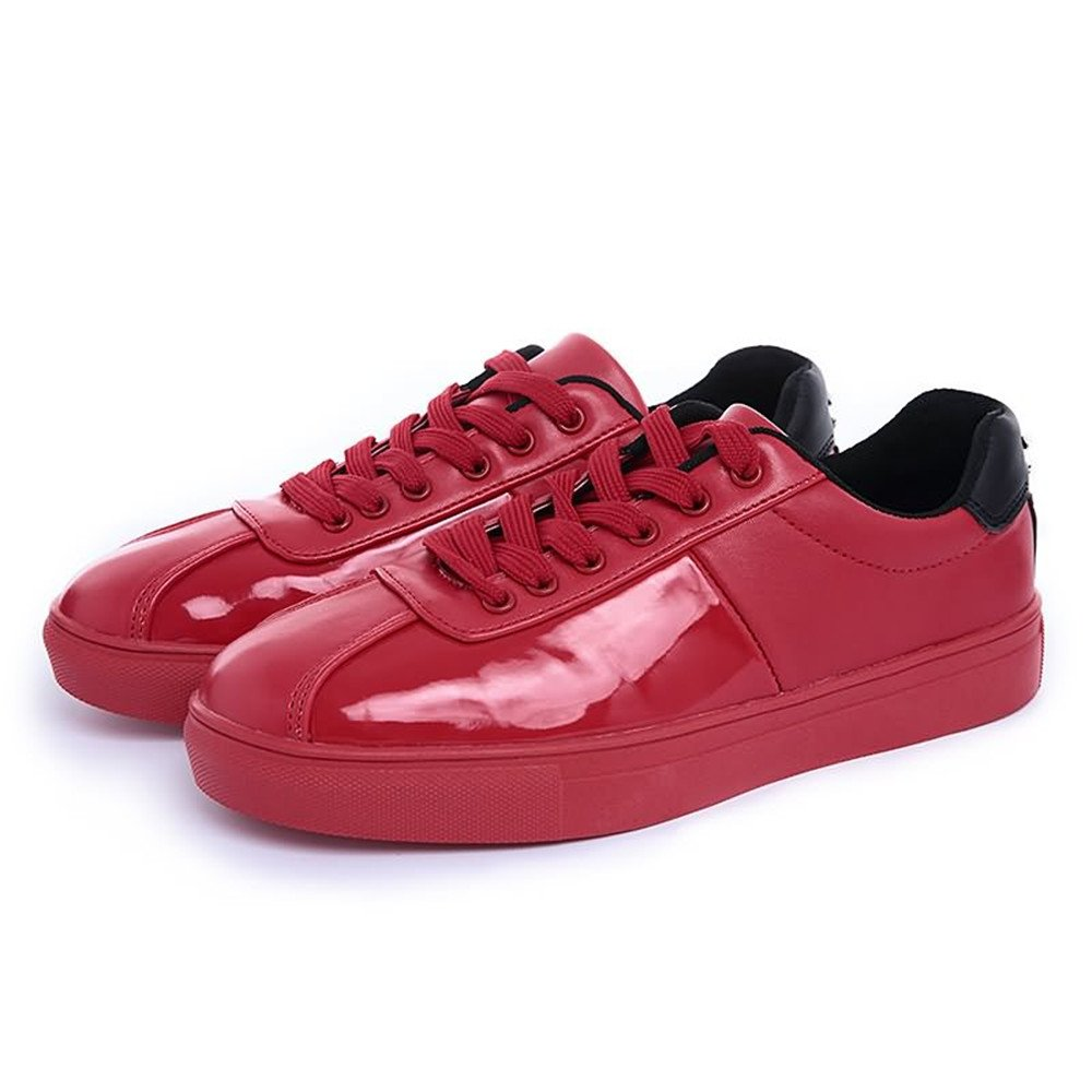 Red MUMUWU Men's Fashion Sneaker Flat Heel Lace Up Patent Leather Solid color shoes Carrier