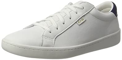Keds Women's Ace Core Leather Oxfords, White/Navy Blue, 3.5 UK