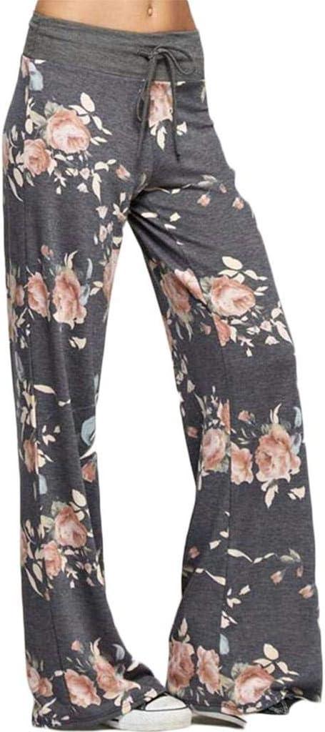 Size XL FAIYIWO Women Floral Print Wide Leg Pants Loose Ladies Summer Ankle Length Trousers FAIYIWO Black