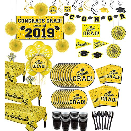 Party City Super Congrats Grad Yellow 2019 Graduation Party Supplies for 54 Guests with Banner, Tableware and Balloons -