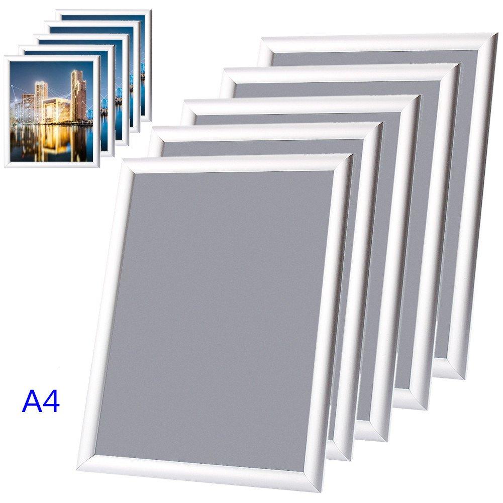 GOTOTOP A3//A4 Lot 5pcs Cadres daffiche//Poster en Aluminium avec Film de Protection PVC Anti-Eblouissante A3
