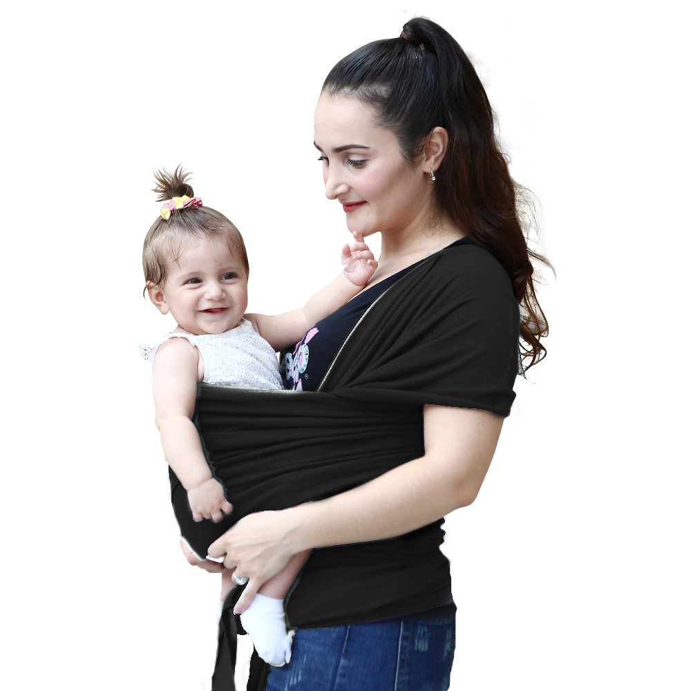 BABY SLING Natural Soft and Lightweight Baby Wrap Gentle Cotton Baby Carrier Best For Infant Babies 1 month up to 2 years of age – Black