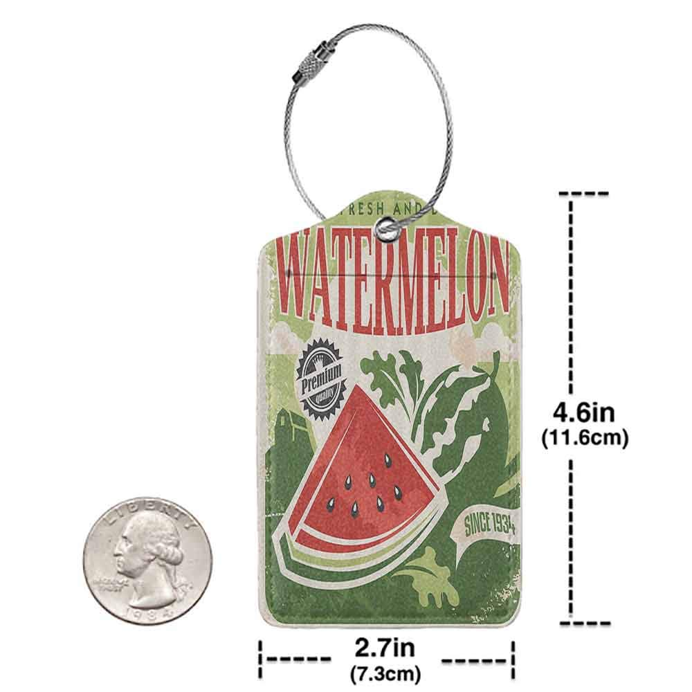 Small luggage tag Vintage Decor Vintage Old Fashioned Funny Watermelon With Faded Indy Colors Classic Graphic Quickly find the suitcase Green Red Ecru W2.7 x L4.6
