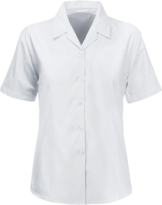 Kids Girls Revere Collared Blouses Shirts School Uniform Short Sleeves Smart WEAR