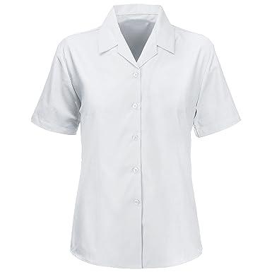 "640e644a7005fa Kids Girls Revere Collar Blouses Shirts School Uniform Short Sleeves Smart  WEAR[White,28"""