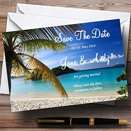 Palm Tree Beach Abroad Personalized Wedding Save The Date Cards