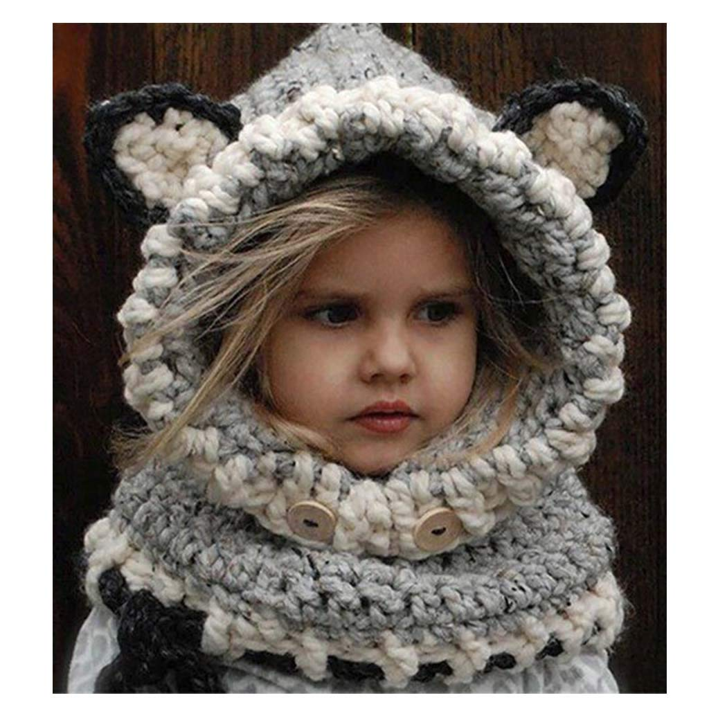 Barogirl Fox Winter Hat Knitted Scarf Hood Animal Beanie Kids for Autumn Winter