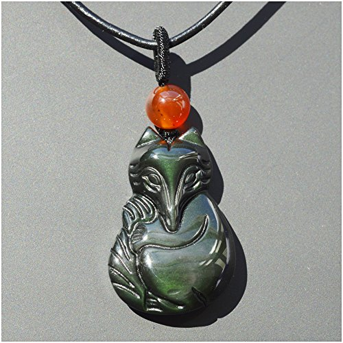 Fox Pendant Necklace Amulet / Talisman, Made of Obsidian Gemstone, with Necklace Cord, Bella Jade (Jade Gemstone Necklace Purple)